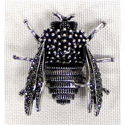 Bling Bling Black Rhinestone Bee Pin