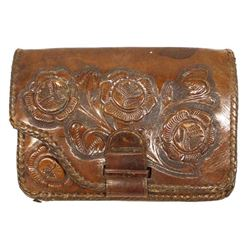 Vintage Western Tooled Leather Clutch Purse