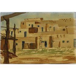 Original Watercolor Painting of New Mexico Pueblo