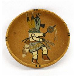 Native American Sand Painted Bowl, E.J. Mocasque