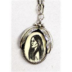 Choctaw Sterling Scrimshaw Pendant Necklace