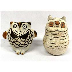 2 Vintage Native American Acoma Pottery Owls