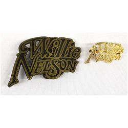 Willie Nelson Belt Buckle and Hat Pin
