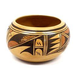 Hopi Polychrome Pottery Bowl by Gertrude Adams