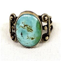 Native American Navajo Sterling Turquoise Ring, 7