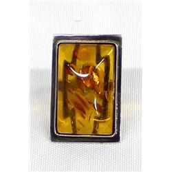 Sterling Silver Amber Ring, Size 5.5