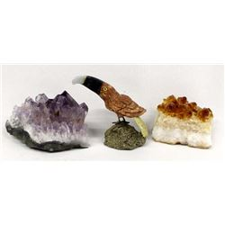 Amethyst Crystals, Creedite Crystals, & Gem Bird