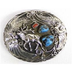 Handcrafted SSI Turquoise Elk Buckle, Made in USA