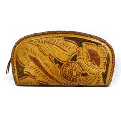Vintage Hand Tooled Leather Clutch Purse