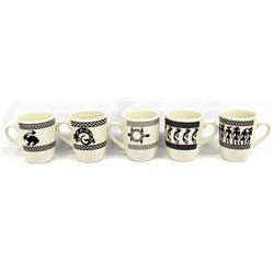 5 Anasazi Traders Design Ceramic Coffee Cups