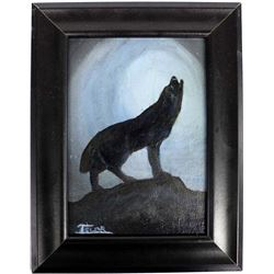 Original Acrylic Wolf Painting by Telar