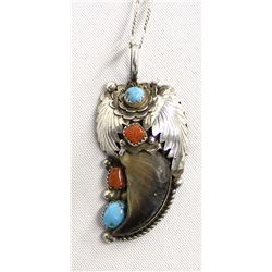 Navajo Sterling Turquoise Coral Pendant Necklace
