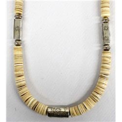 Navajo Sterling Silver & Heishi Bead Necklace