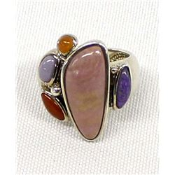 Sterling Silver Multi-Stone Ring, Size 7.25