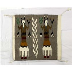 Navajo Yei Wool Textile Rug from Tuba City, AZ