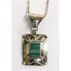 Mexican Sterling Malachite Pendant Necklace