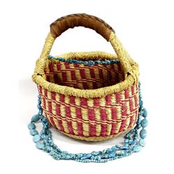 African Basket with Hand Beaded Necklace
