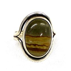 Sterling & Picture Jasper Ring, Size 7.5