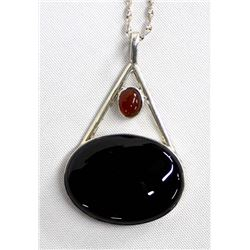 Vintage Mexican Modernist Sterling Onyx Necklace
