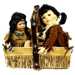 Vintage Basket with 2 Native American Style Dolls