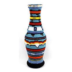 Hand Beaded Wood Vase by Kathy Kills Thunder