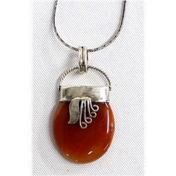 Sterling Silver & Jasper Pendant Necklace