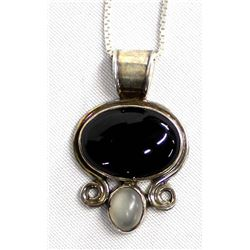 Sterling Onyx and Moonstone Pendant Necklace