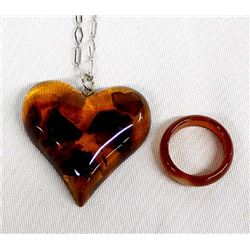 Heart Shaped Amber Pendant Necklace and Ring
