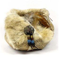 Rabbit Fur Trimmed Coconut Bark Basket