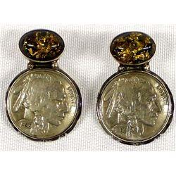Navajo Sterling Buffalo Nickel Earrings