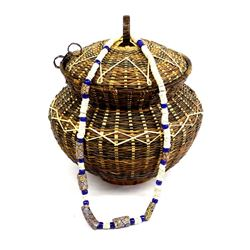Ethnic Lidded Basket & African Trade Bead Necklace