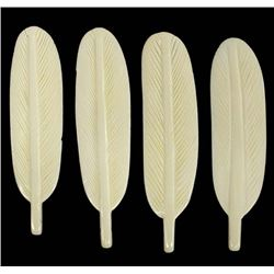 4 Carved Bone Feathers