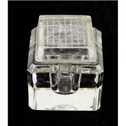 Antique Lidded Glass Inkwell