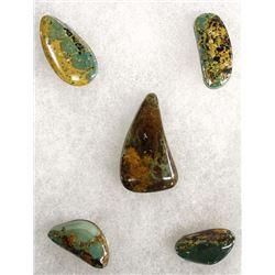 5 Evan's Mine Baja California Turquoise Cabochons