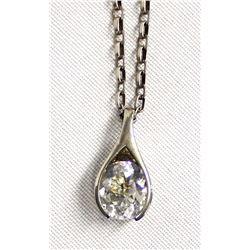 Sterling Silver Rhinestone Pendant Necklace