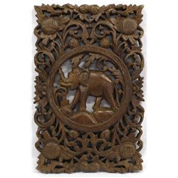 Ornate Asian Carved Wood Relief Panelm with Lotus Blossoms