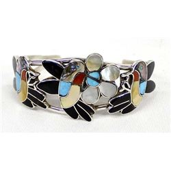 Vintage Zuni Sterling Inlay Hummingbird Bracelet