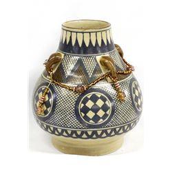Chinese Pottery Vase with Beaded Embellishments