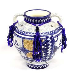 Asian Vase with Beaded Dangles by Kills Thunder