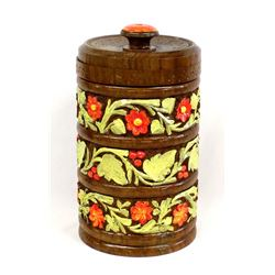 Hand Painted Carved Wood Spice Cannister