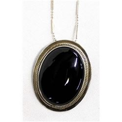 Mexican Sterling Onyx Pin Pendant Necklace