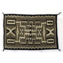 Navajo Storm Pattern Wool Textile Rug, Yellowhair