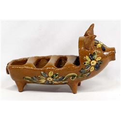 Mexican Glazed Redware Pottery Pig Napkin Holder