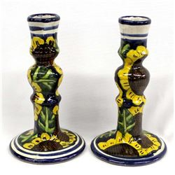 Pair of Talavera Pottery Candlestick Holders
