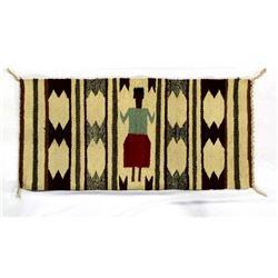 Vintage Navajo Cotton Textile Rug