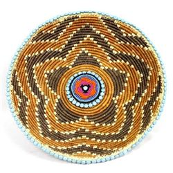 Hand Beaded Tribal Basket by Kills Thunder