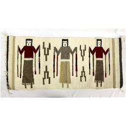 Vintage Native American Navajo 3 Yei Textile Rug