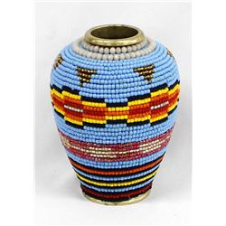 Hand Beaded Brass Vase by Kathy Kills Thunder