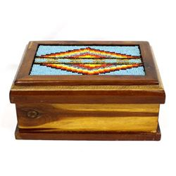 Hand Beaded Cedar Wood Box by Kills Thunder