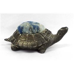 Antique Spelter Metal Turtle Pin Cushion